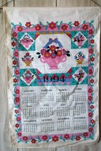 Vintage 1994 Calendar Kitchen Tea Towel Flower Baskets Quilting Theme B & D - $10.88