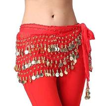 PANDA SUPERSTORE Chiffon Red Belly Dance Scarf with Dangling Gold Coins Belt Ski