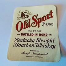 Whiskey label paper ephemera advertising bourbon Old Sport Louisville Ku... - $15.43