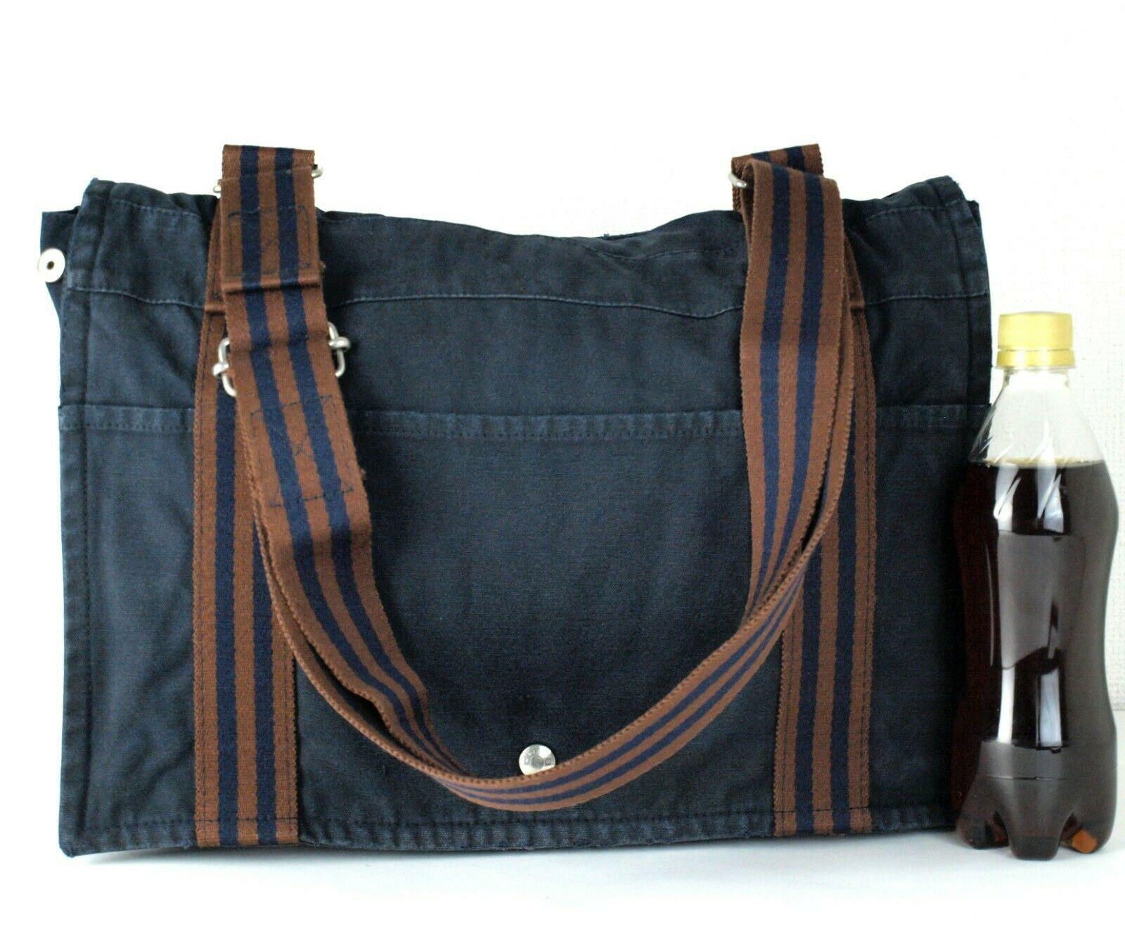 Auth Hermes Fool Toe Vassus MM Navy Cotton Canvas Shoulder Bag Purse France Used image 3