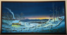 Deer at Night in Snow At Forest Edge Original Painting Barnie Slice - SC... - $188.88