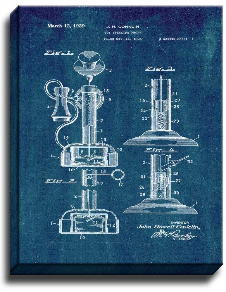 Primary image for Toy Speaking Phone Patent Print Midnight Blue on Canvas