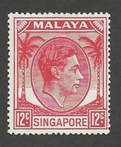 1952 King George VI Singapore Postage Stamp Catalog Number 10 MNH