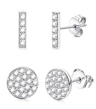 Sllaiss 2 Pairs 925 Sterling Silver Bar Dot Stud (C: CZ Circle And Line) - $17.51