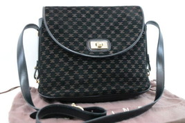 CELINE Suéde Shoulder Bag Black Auth ar644 - $198.00
