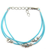 """ANKLET MOON STARS BLUE CHARMS FRIENDSHIP STRAP ACRYLIC ADJUSTABLE TO 9"""" - $9.45"""