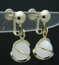 White Moon Glow Bead Gold Tone Wrapped Dangle Screw-On Earrings Vintage - $13.86