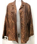 CHICO'S DESIGN Gold & Brown SHIMMER Paisley Floral Jacket Size 2 (Large) - $39.90