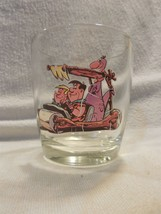 Vintage Flintstones Cocktail Sour Cream Glass Fred, Barney & Dino in Fli... - $7.95
