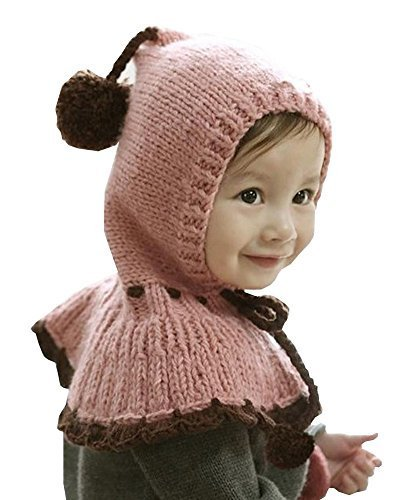 Unique Winter Baby Hat/Cap Useful Cute Woolen Baby Hat with Cappa Pink