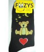 Valentine Teddy Bear Foozy Socks Ladies Size 9-11,Black - $7.42
