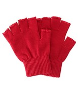 Men / Women's Thick Knit Solid Colored Cuffed Fingerless Gloves,Red - $10.15
