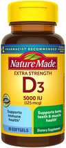 Nature Made Extra Strength Vitamin D3 5000 IU (125 mcg) Softgels, 90 Count for B - $10.88
