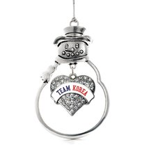 Inspired Silver Team Korea Pave Heart Snowman Holiday Christmas Tree Ornament - $14.69