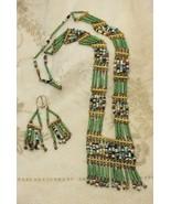 Ethnic Tribal Green Bead Necklace Earrings Set - $98.98