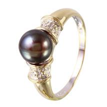 Black Pearl & Diamond 14KT Yellow Gold Ring - $250.00