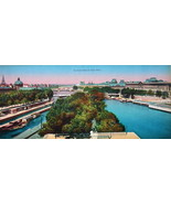 PARIS in 1900s Beautiful Chromotype Photo - Panorama View Seine Pont Neu... - $21.60