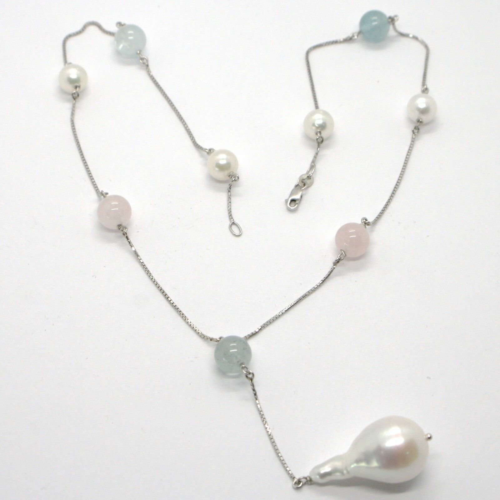 18K WHITE GOLD LARIAT NECKLACE VENETIAN CHAIN AKOYA PEARL, GREEN PINK AQUAMARINE