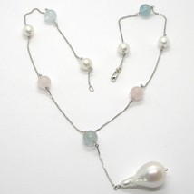 18K WHITE GOLD LARIAT NECKLACE VENETIAN CHAIN AKOYA PEARL, GREEN PINK AQUAMARINE image 1