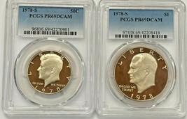 1978-S Kennedy 50c and Eisenhower $1 PCGS PR 69 DCAM  (2 Coin Set) - $24.75