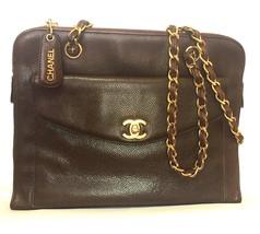 Vintage CHANEL dark brown caviarskin chain shoulder tote bag with golden CC clos - $1,500.00