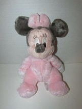 DISNEY Parks Minnie Mouse baby Chime Rattle Pink Fuzzy Plush Disney land... - $11.87