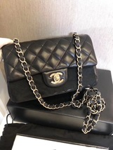 AUTHENTIC CHANEL BLACK QUILTED LAMBSKIN 20cm  LARGE MINI RECTANGULAR FLAP BAG  image 3