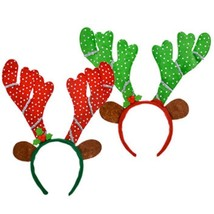 Reindeer Headbands with Antlers and Ears Set of 2 Red and Green with Seq... - €11,33 EUR