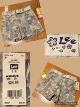 NEW! Lee Girl's Shorts Sz 7R Floral Camo Adjustable Waist Belted Retail $26 NWT! - $8.90