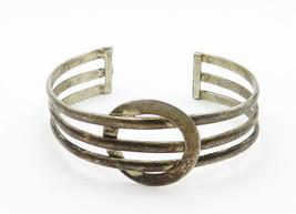 925 Sterling Silver - Vintage Dark Tone Circle Detail Cuff Bracelet - B6173 image 2