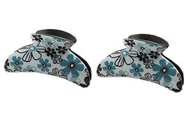 Set of 2 Korean Style Floral Claw Clips Green