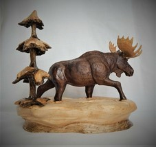 BULL MOOSE ORIGINAL WALNUT AND MAPLE WOOD CARVING  SCULPTURE BY JOAN KOSEL - $554.43