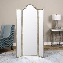 "NEW 75"" STANDING PANEL FLOOR MIRROR SCREEN ROOM DIVIDER AGED SILVER FORG... - $723.80"
