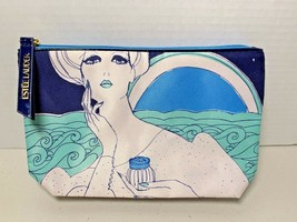 Estee Lauder Lovely Multi Navy Blue Green Cosmetic Bag Makeup Tote Pouch NEW - $7.95
