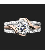 Unique Two tone Design Solitaire Simulant twisted in 925 Silver Engageme... - $90.00