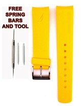 Nautica A14613G 22mm Yellow Diver Rubber Watch Strap Band Anti Allergic ... - $28.70