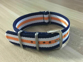 20mm X 255mm Nato Canvas Nylon wrist watch Band strap BLUE ORANGE WHITE - $10.42