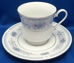 Crown Ming Jian Shiang Harmony Verge Cup and Saucer 6 oz Blue Floral w Platinum - $10.89
