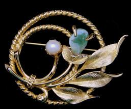 "Sarah Coventry Vintage Brooch ""JADE GARDEN"" 1960s Jade Chip & Faux Pearl... - $11.95"