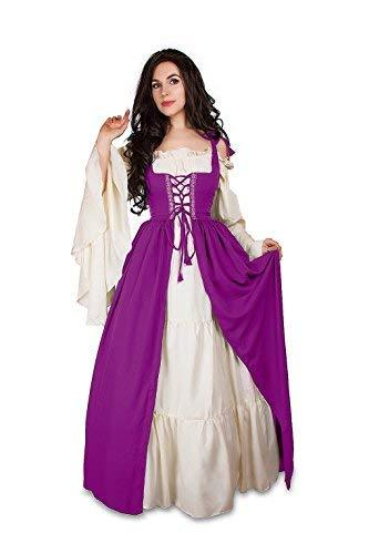 Renaissance Medieval Irish Costume Over Dress & Cream Chemise Set (2XL/3XL, Plum