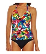 NEW Womens  8  CHAPS Ruched Tropical Floral Ruched Pink Blue 1pc Swim Suit - $70.28