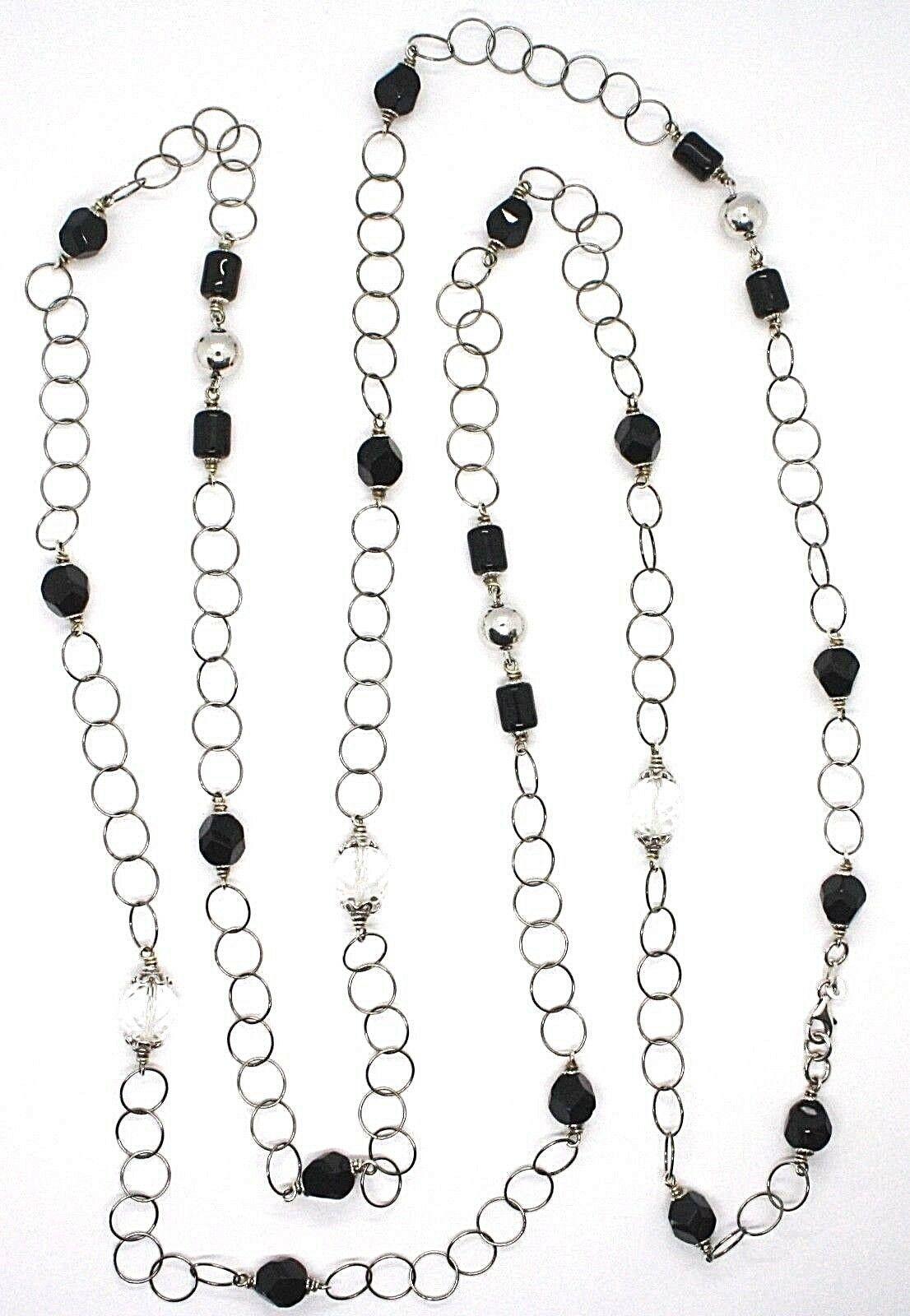 Halskette Silber 925, Onyx Schwarz, Länge 160 cm, Kette Rolo, Kreise