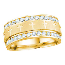 14k Yellow Gold Round Diamond Christian Cross Wedding Anniversary Band Ring - £1,388.20 GBP
