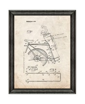 Golf Bag Bicycle Rack Patent Print Old Look with Black Wood Frame - $24.95+