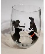 Cute Labrador Silhouette Glass Hand Painted Barware Wine Gifts Wine Juic... - $9.00