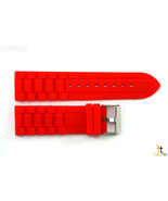 24mm Fits Fossil Red Silicon Rubber Watch BAND Strap - $12.95