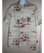Vintage Hawaiian Shirt Men's Solitude Sze XL Short Sleeve Beige 100% Cotton - $19.80