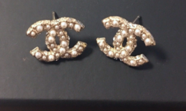 AUTHENTIC CHANEL Classic Strass Crystal Pearl CC Logo Stud Earrings Gold  - $375.00