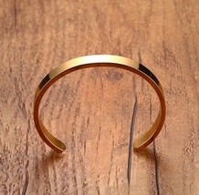 Minimalist Stainless Steel Cuff Bangle Bracelet for Men Gold Satin Finish - $16.54