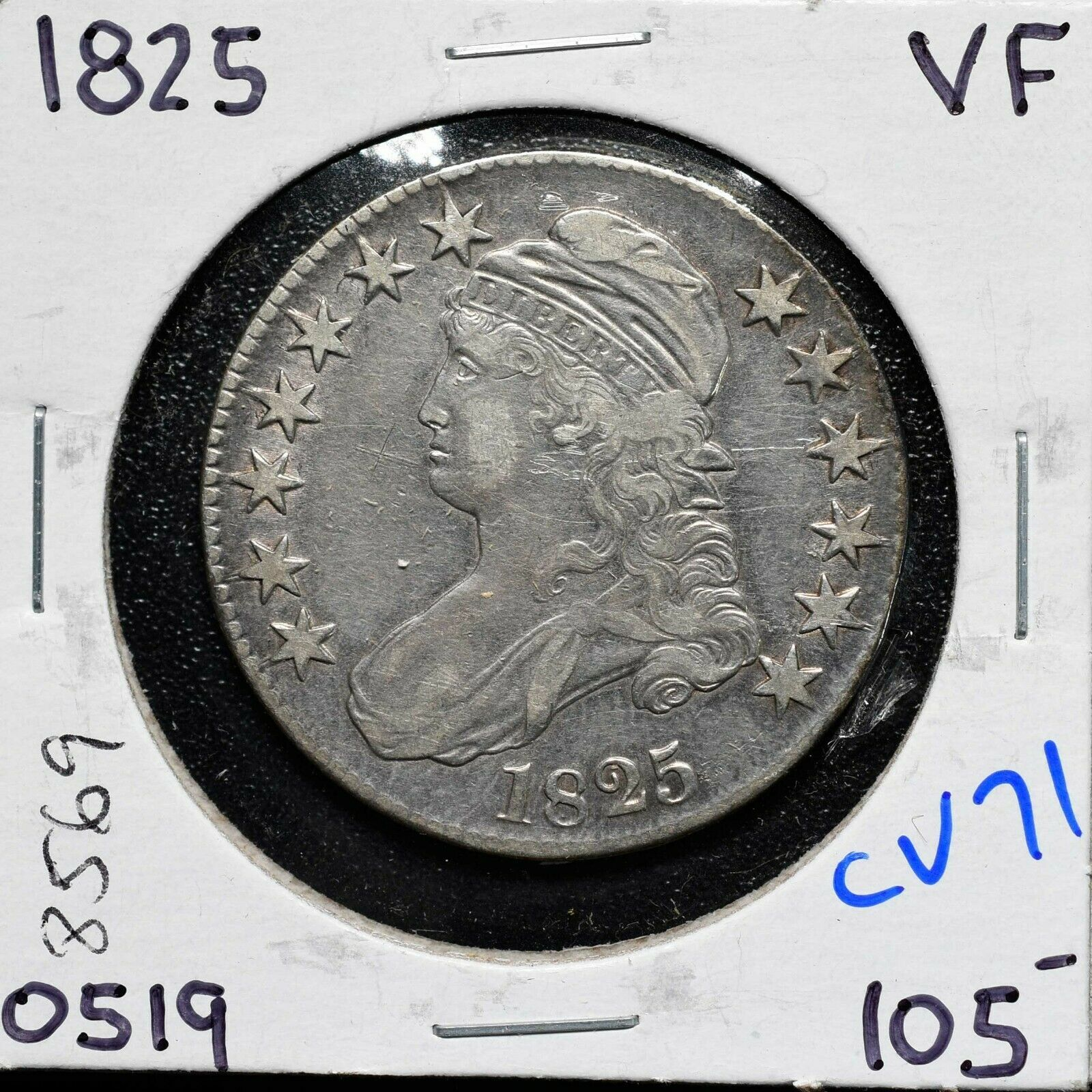 1825 Silver Bust Half Dollar 50¢ Coin Lot# CV71